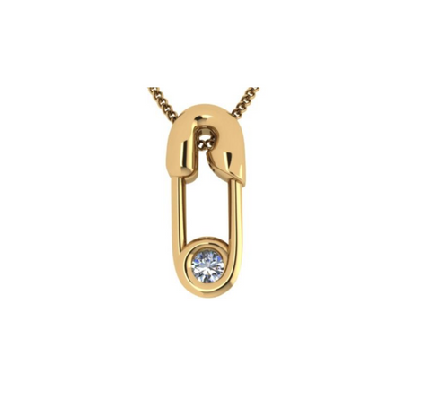 Yellow GOLD (14K) AND DIAMOND SAFETY PIN NECKLACE
