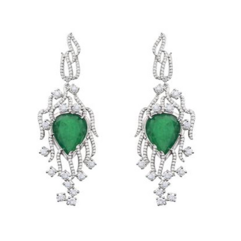 Hannah Earrings in Emerald and Diamonds, White Gold