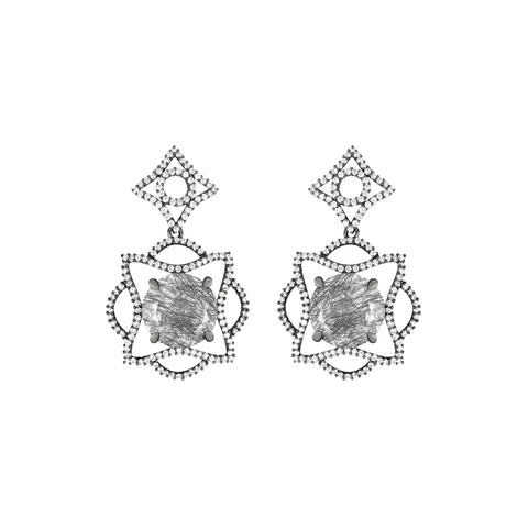 Lava Blossom Earrings in Rutilated Quartz, Diamonds and Blackened White Gold