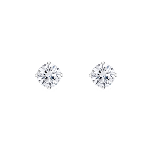 Daytime Diamond Solitaire Stud Earrings, in White Gold