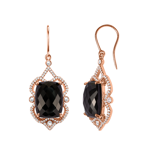One-of-kind Ebony Onyx Earrings, Diamonds in Antique Finish Rose Gold