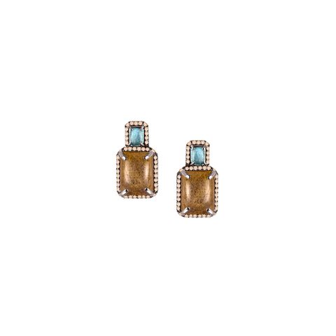 One-of-kind Labradorite Earrings, Diamonds in Yellow Gold and Sterling Silver