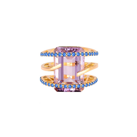 One-of-a-Kind Helena Ring, Rose de France, Sapphire and Yellow Gold