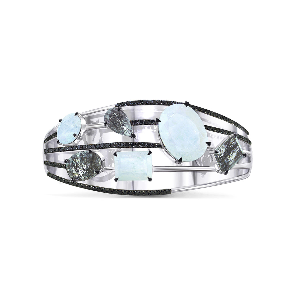One-of-a-kind Diatonic Moonstone and Tourmalated Quartz Cuff, Black Diamonds and White Gold