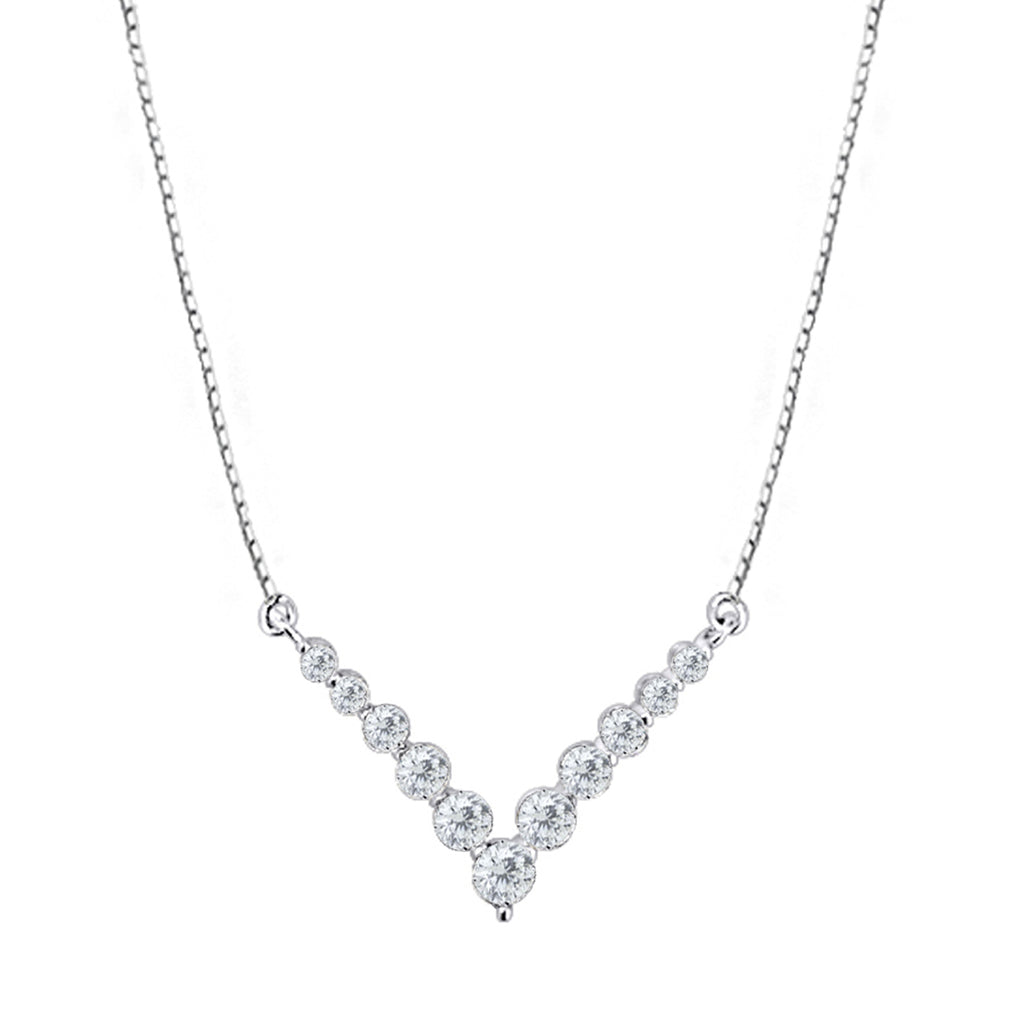 "Cocktail Diamond ""V"" is for Victory Necklace, in White Gold"