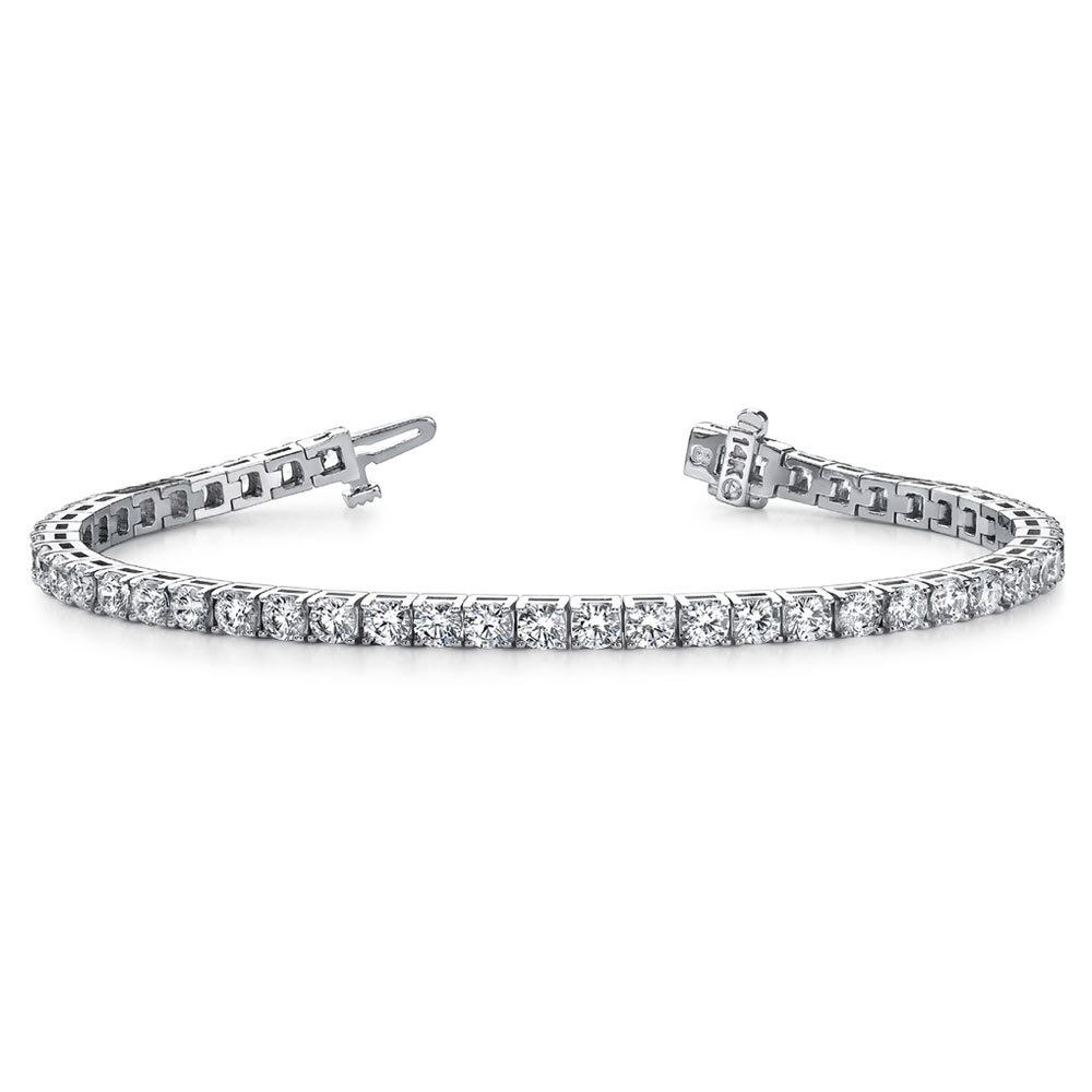 Daytime Diamond 3ctw Four Prong Line Tennis Bracelet, in White Gold