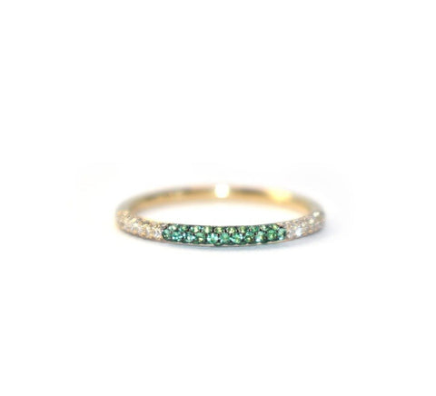 Checker Emerald Stack Rings