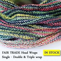 Selection of fair trade dreadlock headwraps bunched together with description of size choices - single, double or triple - written below