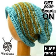 Hand knitted green & aqua slouchy dreadlock beanie hat mounted on wooden mannequin head