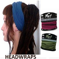 A blue multi function dreadlock headband shown being worn on woman with dreadlocks, with maroon and khaki coloured versions in display packing shown to the right