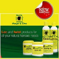 Rasta Locks & Twist liquid dreadlock shampoo and conditioner bottles, and tubs of dread wax & locking gel.
