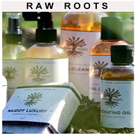 A selection of RAW ROOTs dreadlock creation and maintenance products showing liquid in bottles, and a shampoo bar.