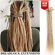Blonde synthetic dreadlock hair extensions weaved into hair on person shown from behind, and separate picture of just dread extensions to the right