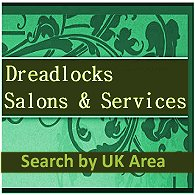 The words Dreadlocks Salons and Services, and Search by UK Area, on green background, on aqua patterned background