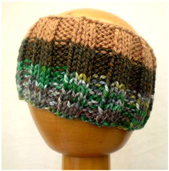 Dreadz Hand Knitted Ribbed Dreadlock Headband / Tube (Brown/Greens) (#019)