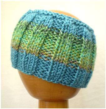 Dreadz Hand Knitted Ribbed Dreadlock Headband / Tube (Blue/Green) (#022)