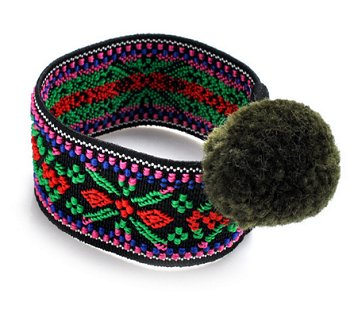 Dreadz Boho Ethnic Elasticated Pom Pom Hair Tie (#030) x 1