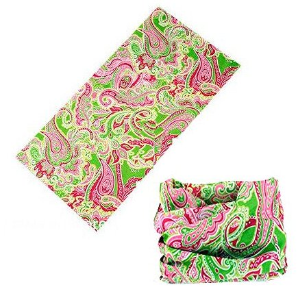 12 in 1 Paisley Multi-Function Tubular Headband / Headwear (Pink/Lime)