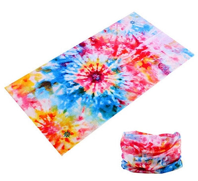 Dreadz 12 in 1 Tie Dye Multi-Function Tubular Headband / Headwear (Light Bright) shown laid flat and rolled up against plain white background