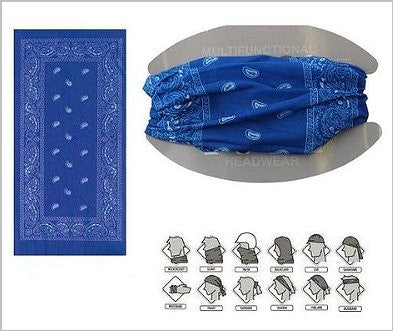 12 in 1 Multi-Function Tubular Headband / Headwear (Royal Blue Paisley)