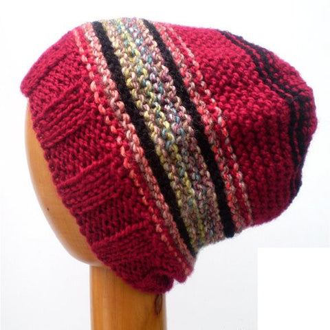 Dreadz Multi Coloured Slouchy Ribbed Brim Beanie Hat (Colour #207)