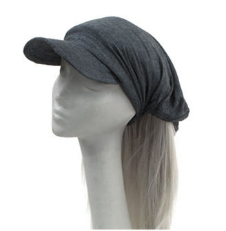 Fair Trade Cap Headband (510 Grey) displayed in half side view on polystyrene mannequin head against plain light background