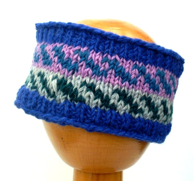 Fair Trade Fleece Lined Woollen Headband (#546-16 Blue/Pink/Green) displayed on wooden mannequin head against plain light background