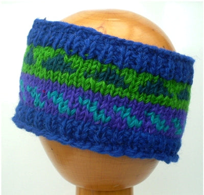 Fair Trade Fleece Lined Woollen Headband (#546-13 Blue/Purple/Green) displayed on wooden mannequin head against plain light background