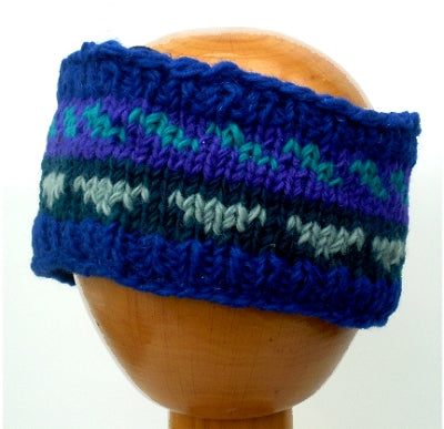 Fair Trade Fleece Lined Woollen Headband (#546-18 Blue/Purple/Green) displayed on wooden mannequin head against plain light background