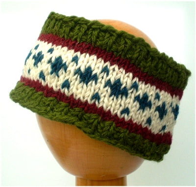 Fair Trade Fleece Lined Woollen Headband (#546-04 Green/Red/White/Blue) displayed on wooden mannequin head against plain light background