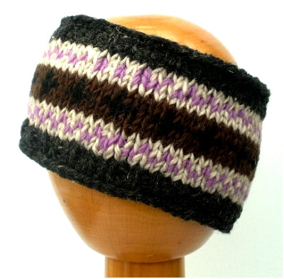 Fair Trade Fleece Lined Woollen Headband (#546-10 Grey/Brown/Purple) displayed on wooden mannequin head against plain light background