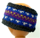 Fair Trade Fleece Lined Woollen Headband (#546-08 Grey/Purple/Lime) displayed on wooden mannequin head against plain light background