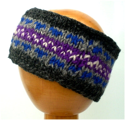 Fair Trade Fleece Lined Woollen Headband (#546-07 Grey/Purple/White) displayed on wooden mannequin head against plain light background