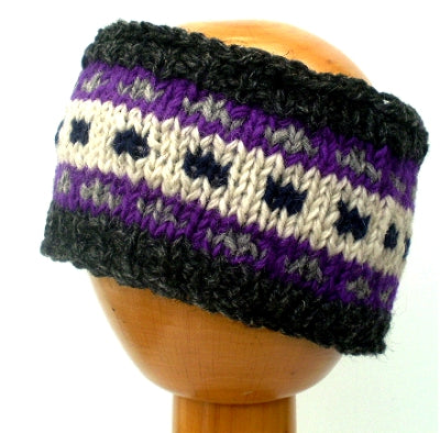 Fair Trade Fleece Lined Woollen Headband (#546-11 Grey/White/Purple) displayed on wooden mannequin head against plain light background