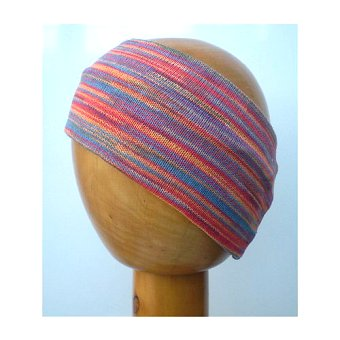 A Dreadz Fair Trade Multi-Coloured Striped Headband in Sunset colours on a wooden mannequin head