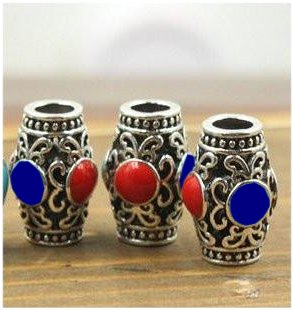 Dreadz Tibetan Silver and Enamel Detail Hair Beads (5.5mm Hole) x 1 Bead