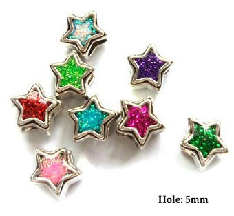 Dreadz Silver Enamel Stars Hair Beads (5mm Hole) x 2 Bead Pack (Pink)