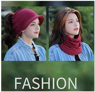 Dreadz Soft Cotton Peaked Brim Beanie Hat (AL-159 Dark Red) being worn by female model in 2 different styles. As beanie hat, and as neck warmer