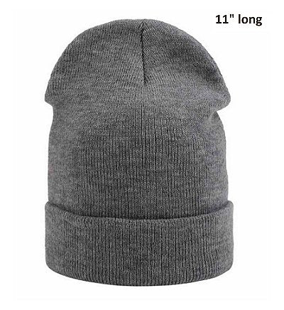 Dreadz Casual Double Thickness Beanie Hat (Grey)