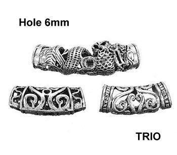 Dreadz Silver TRIO Tube Dreadlock Hair Beads (6mm Hole) (AL-37B) x 3 Bead Pack