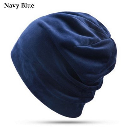 Dreadz Velvet Beanie Hat (Navy Blue)