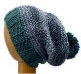 Dreadz Hand Knitted Slouchy Ribbed Brim Beanie Bobble Hat (AW-1818) (Black/White/Sage Green)