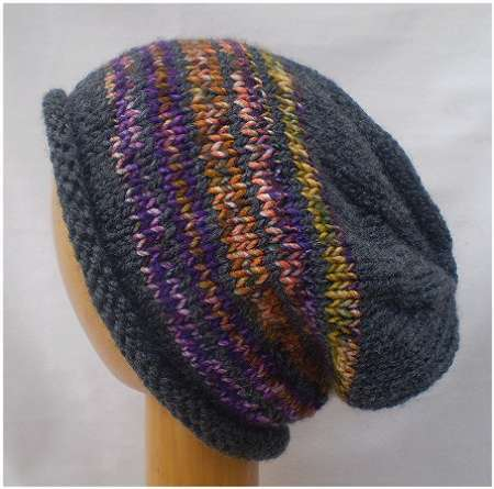 Dreadz Hand Knitted Slouchy Rolled Brim Beanie Hat (Grey/Purple/Gold Mix) AW-20-02