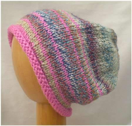 Dreadz Hand Knitted Slouchy Rolled Brim Beanie Hat (Pink/Multi Mix) AW-20-10