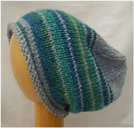 Dreadz Hand Knitted Slouchy Rolled Brim Beanie Hat (Grey/Green/Blue Mix) AW-20-12