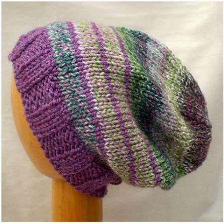 Dreadz Hand Knitted Slouchy Ribbed Brim Beanie Hat (Green/Purple Mix) AW-20-15