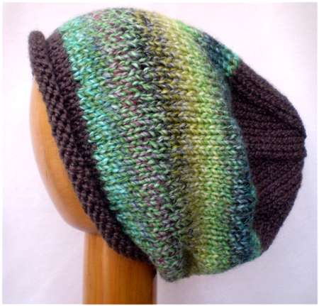 Dreadz Hand Knitted Slouchy Rolled Brim Beanie Hat (Brown/Green Mix) AW-20-29