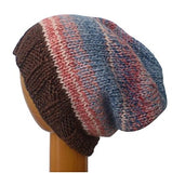 Dreadz Hand Knitted Slouchy Ribbed Brim Beanie Hat (AW_106) Brown/Blue/Pink