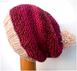 Dreadz Hand Knitted Slouchy Ribbed Brim Beanie Bobble Hat (Red/Cream)