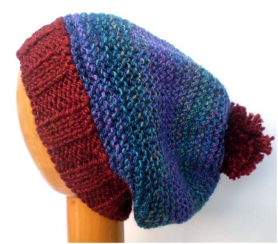 Dreadz Hand Knitted Slouchy Ribbed Brim Beanie Bobble Hat (Blues/Brown)
